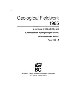 Geological Fieldwork 1985