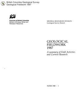 Geological Fieldwork 1987