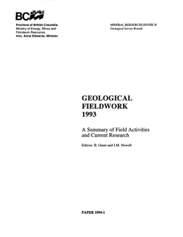Geological Fieldwork 1993