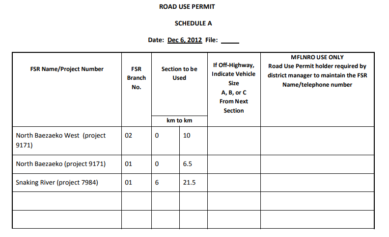 Road Use Permit example Quesnel