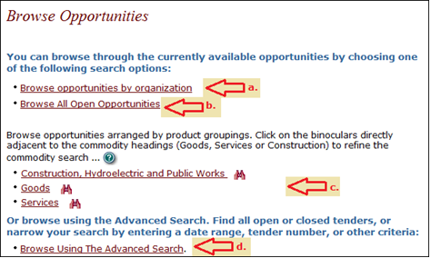alt=BC Bid Browse Opportunities screen