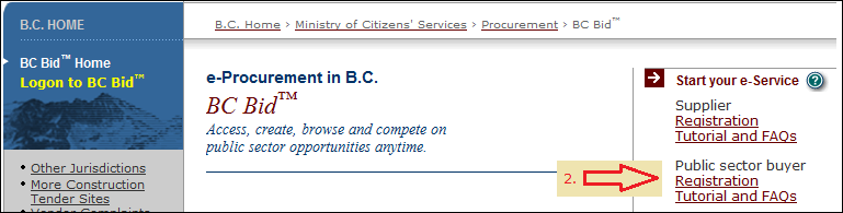 BC Bid register link for public sector buyers