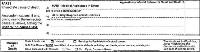 example of death certificate indicating medical assistance in dying