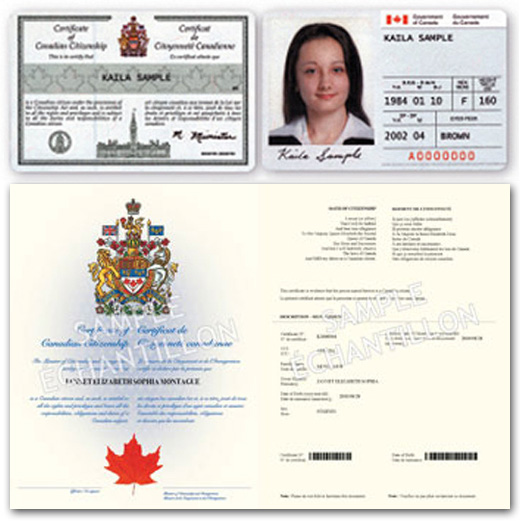 canadian citizenship card and certificate example