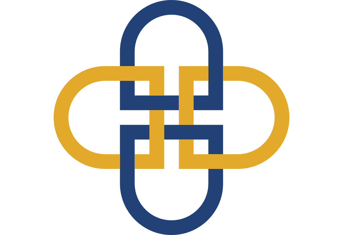 Blue and gold chainlinks.