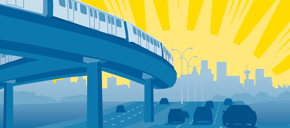skytrain and cars in front of vancouver skyline