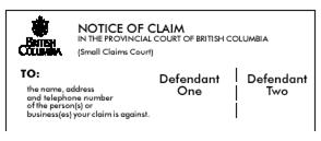 Example of how to add more than one defendant on the Notice of Claim in the Making a Claim Guide in the Small Claims Series