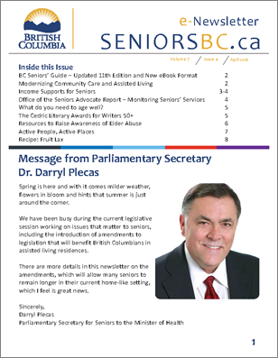 Cover of SeniorsBC e-Newsletter - Volume 7, Issue 4 - click this picture to download the PDF
