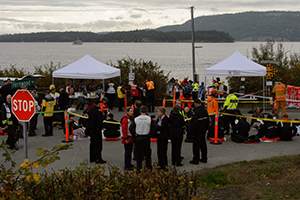 Triage tents set up by a BC Ferries exercise