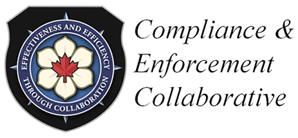 Compliance & Enforcement Collaborative crest.  The 'Effectiveness and Efficiency Through Collaboration' moto encircles a dogwood shaped flower with a red maple leaf at its' centre.