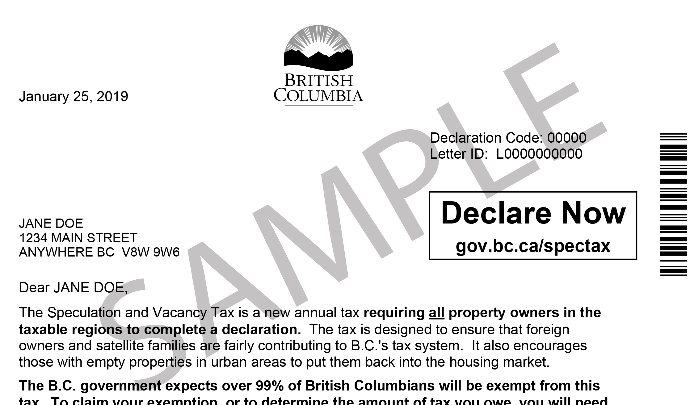 How Much Is Tax In Bc >> Declaration For Speculation And Vacancy Tax Province Of