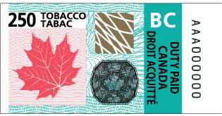 B.C. stamp for tax-paid tobacco